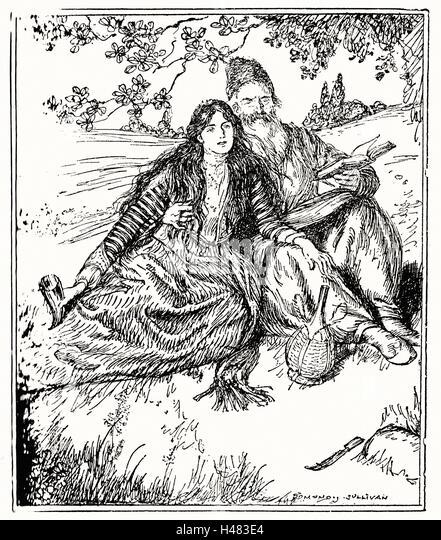 Edmund J Sullivan Illustrations to The Rubaiyat of Omar Khayyam First Version Quatrain - Stock Image