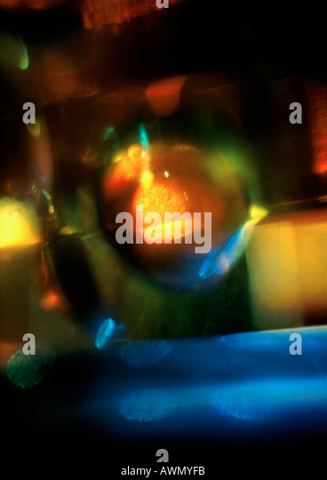 Light effect, reds, yellows and blues, blurry - Stock Image