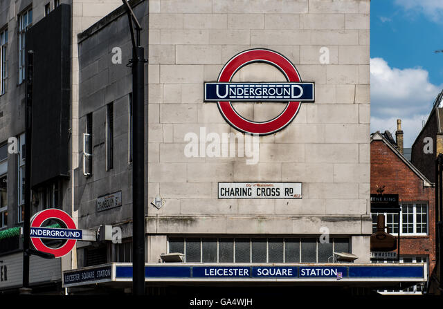Leicester Square tube station on Charing Cross Road.  Part of the London Underground metro system - Stock Image