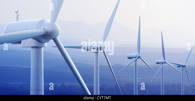 Wind turbine farm against distant mountains (3d graphic) - Stock-Bilder
