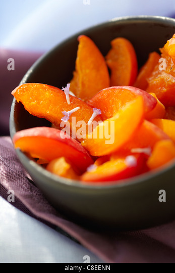 Apricot fruit salad with honey - Stock Image