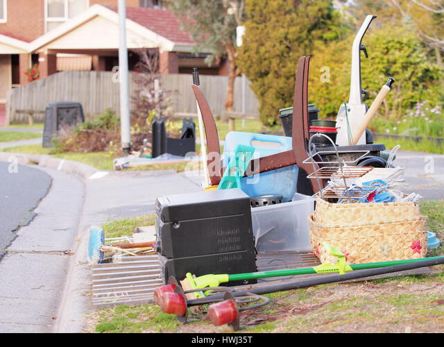 Hard rubbish on the road side in an residential area in Melbourne - Stock Image