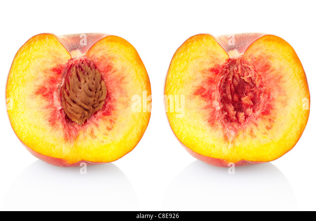 Peach fruit section - Stock Image