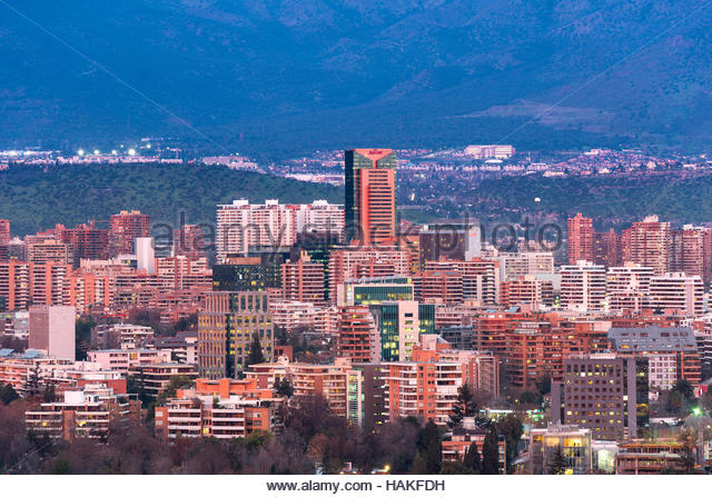Overview of Residential and Office Buildings in Las Condes, Santiago de Chile, Chile - Stock Image