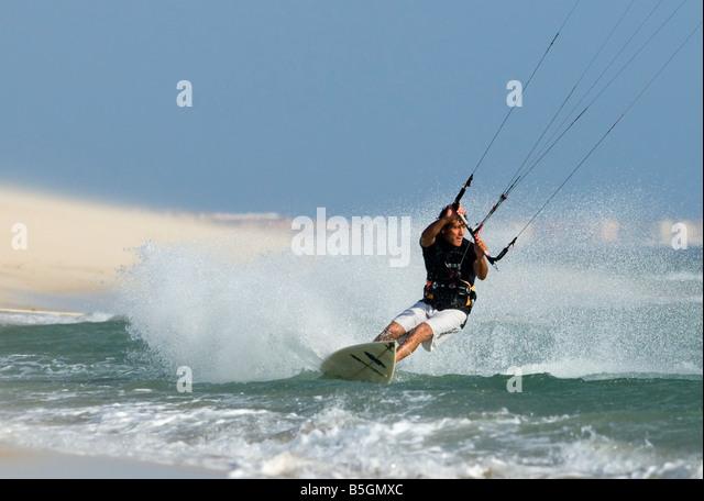 kiteboarder in tarifa, cadiz, spain - Stock Image