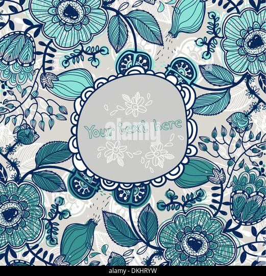 vector floral frame with fantasy flowers and fruits - Stock Image