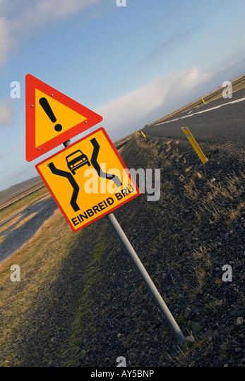Road sign stating a narrow bridge is ahead, Southern Iceland - Stock Image