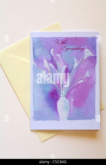 With Sympathy card and envelope - Stock Image