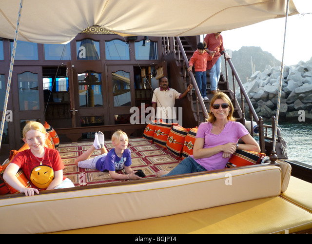 Sailing on a Dhow off the coast of Oman - Stock Image