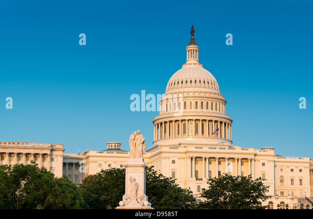 The Peace Monument and U.S. Capitol Building, Washington D.C., USA Capitol Building, Washington D.C., USA - Stock Image