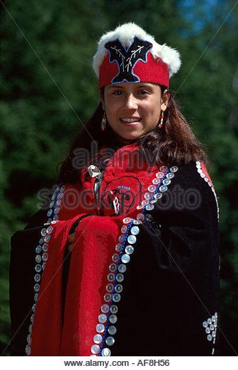 Alaska Ketchikan Saxman Native Village Tlingit Native American woman tribal costume regalia - Stock Image