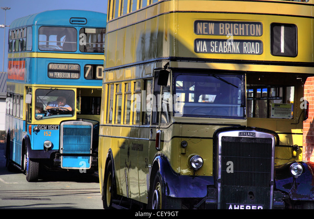 Old Leyland Wirral double decker Buses in Blue and Yellow Birkenhead New Brighton AHF 850 and GCM 152E - Stock Image