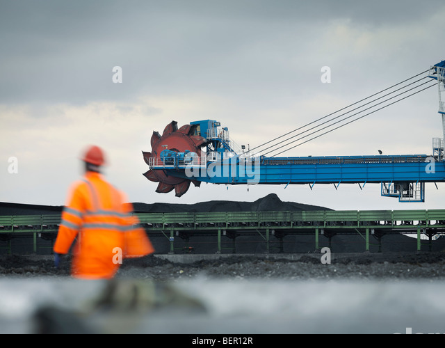 Port Worker With Heavy Machinery - Stock Image
