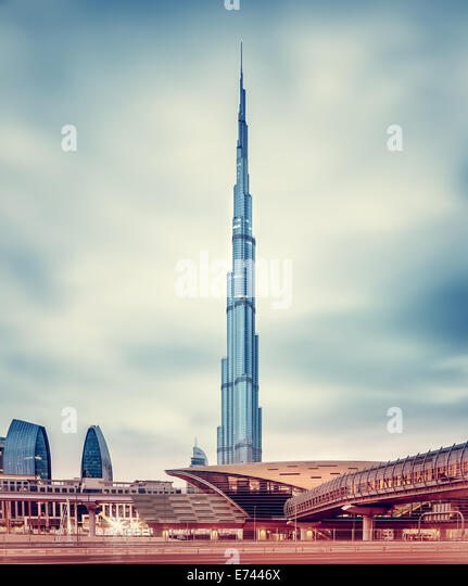 DUBAI, UAE - FEBRUARY 09: Burj Khalifa, world's tallest tower at 828m, located at Downtown, modern new metro - Stock-Bilder