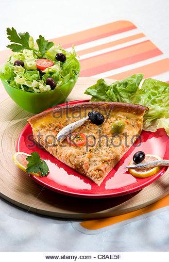 Tuna and tomato tart - Stock Image