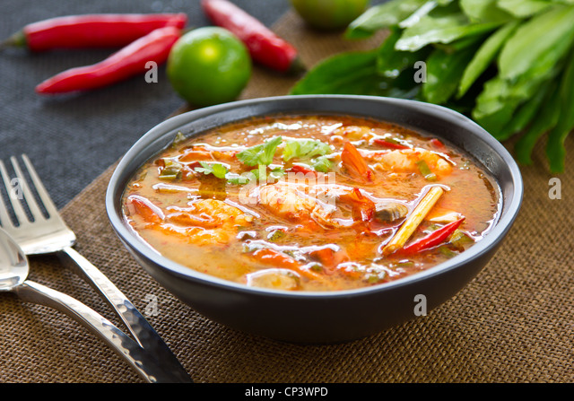 Sour and Spicy soup [Thai s Tomyum kung] - Stock Image