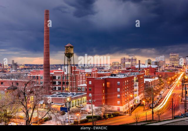 Richmond, Virginia, USA downtown cityscape over Main Street. - Stock Image