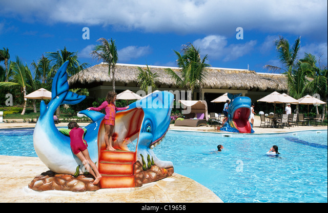 Swimming pool, Paradisus Punta Cana Hotel in Playa Bavaro, Punta Cana, Dominican Republic, Caribbean - Stock Image