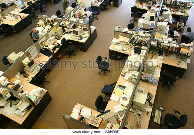 Cleveland Ohio Plain Dealer Building daily newspaper office desks - Stock Image