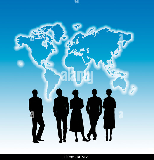 Silhouettes of People looking at an outline of the World Map - Stock Image