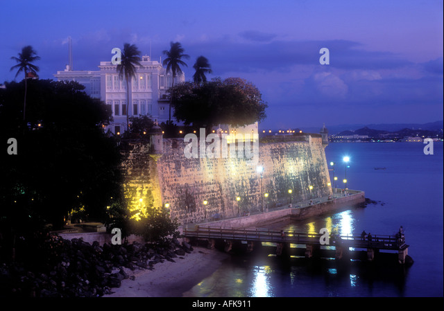 Evening view of Old San Juan Puerto Rico Caribbean - Stock Image