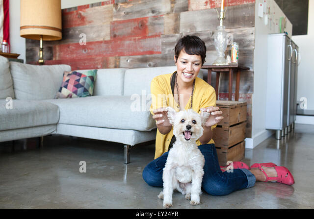 Young woman holding up dogs ears in living room - Stock Image