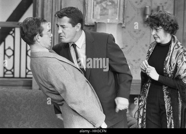 Rocky Graziano, Wally Cox and Martha Raye - Stock Image
