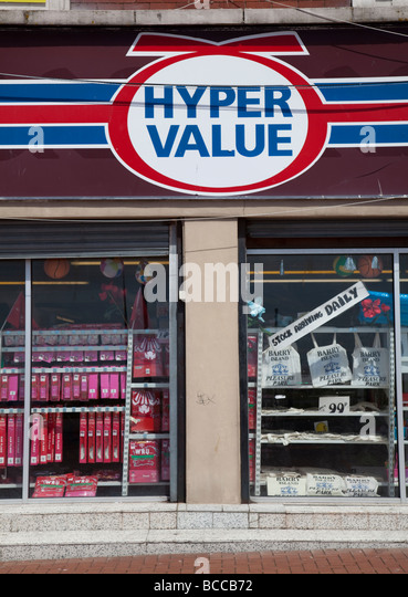 Hyper Value cheap shop sign and window Barry Wales UK - Stock Image