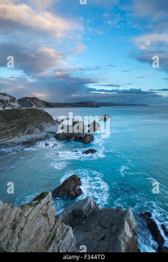 winter light on Mupe Bay, Jurassic Coast, Dorset, England - Stock Image