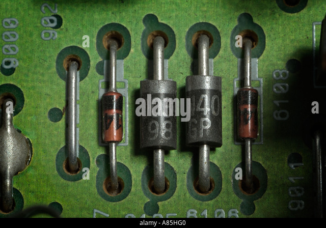 Resistors on a Circuit Board, Close Up. - Stock Image