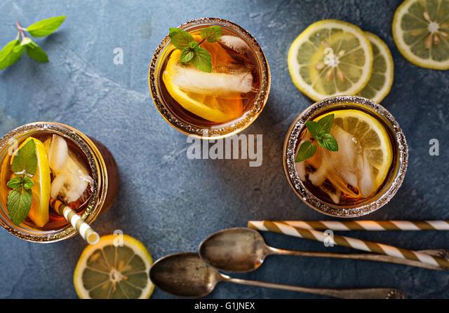 Iced tea overhead shot - Stock Image