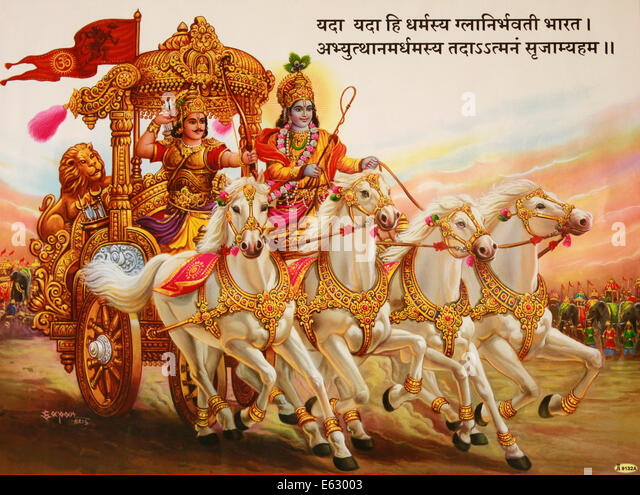 painting depicting the scene in Bhagavad gita where Lord Krishna enters the battle field with Arjuna. Also called - Stock Image