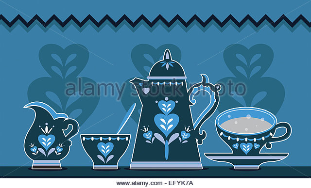Retro coffee set Illustration - Stock-Bilder