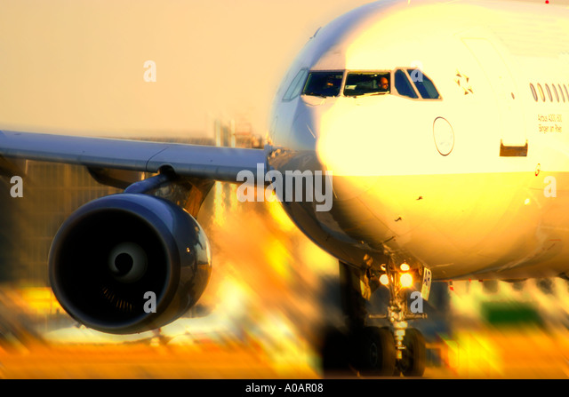 Close up of a commercial airplane with motion blur - Stock Image