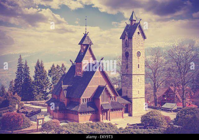 Vintage retro filtered old wooden temple Wang in Karpacz, Poland. - Stock Image