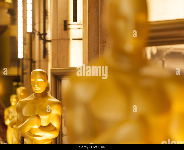 March 1, 2014 - Hollywood/Los Angeles, California, USA - A line of gold Oscars could be seen set up along the main - Stock Image