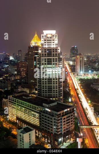 City skyline at dusk, Bangkok, Thailand - Stock Image
