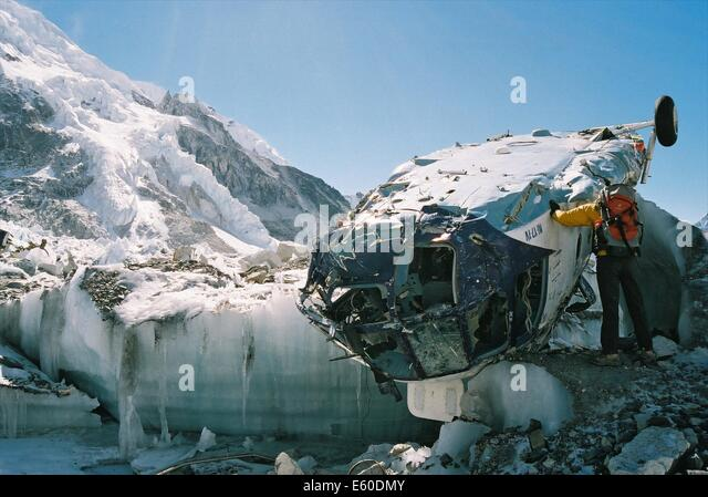 The wreckage of a Russian Mi-17 Helicopter that crashed onto the Khumbu Glacier on a flight from Everest Base Camp, - Stock Image