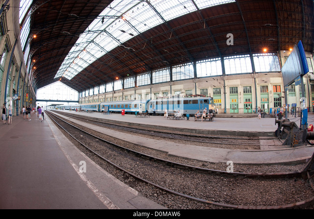 Nyugati train station in Budapest, the capital of Hungary. - Stock Image