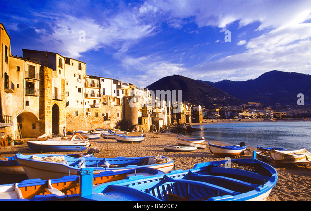 Fishing boats on the beach, Cefalu, Sicily, Italy, Mediterranean, Europe - Stock Image