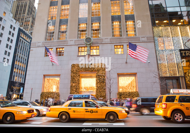 Tiffany & Co. and Trump Tower with holiday decoration, Fifth Avenue ...