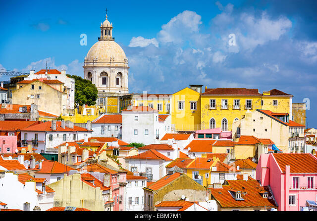 Lisbon, Portugal skyline at Alfama, the oldest district of the city with the National Pantheon. - Stock-Bilder