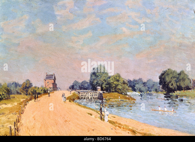 fine arts, Sisley, Alfred, (1839 - 1899), painting, 'The road in Hampton', 1874, oil on canvas, 38,8 x 55,4 - Stock Image