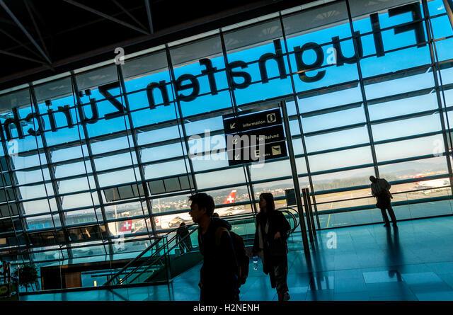 Zürich Airport, Flughafen Zürich, also known as Kloten Airport, the largest international airport of Switzerland - Stock Image