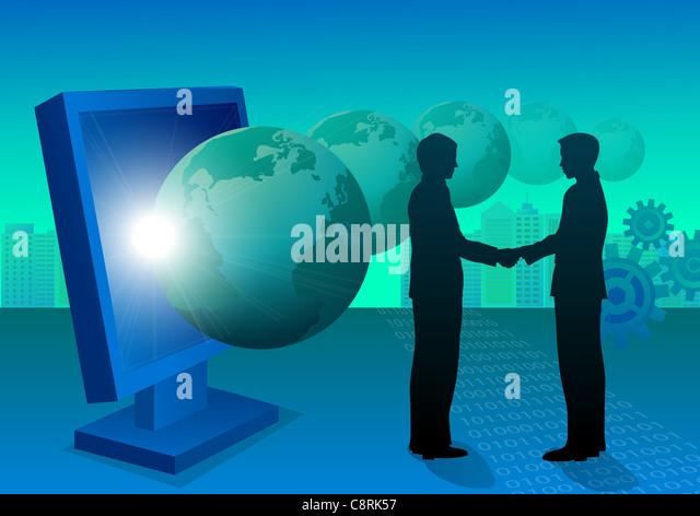Illustration of two men shaking hands - Stock-Bilder