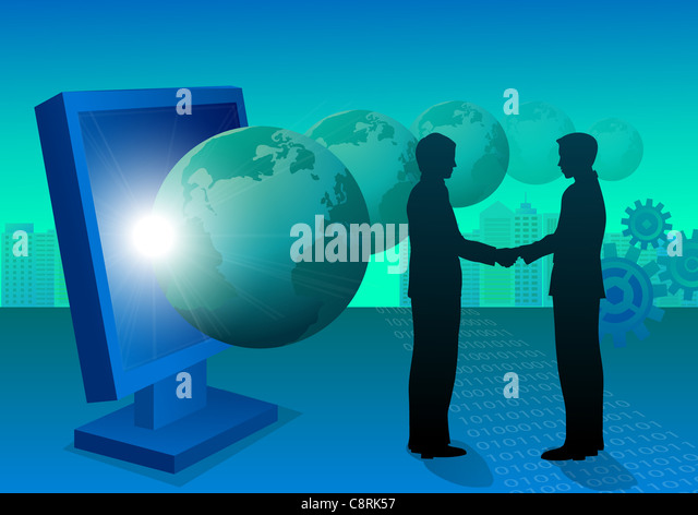 Illustration of two men shaking hands - Stock Image