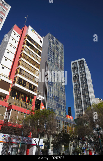 Skyscrapers along Avenida 16 de Julio (El Prado), La Paz, Bolivia, South America - Stock Image
