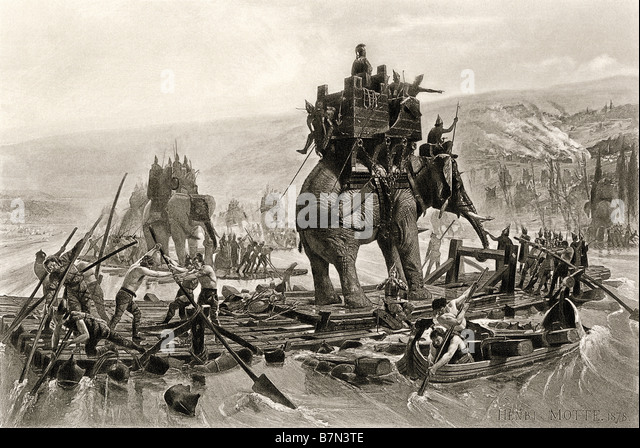 Hannibal's army crossing the Rhone in Gaul to attack Rome by way of the Alps 218 BC - Stock-Bilder