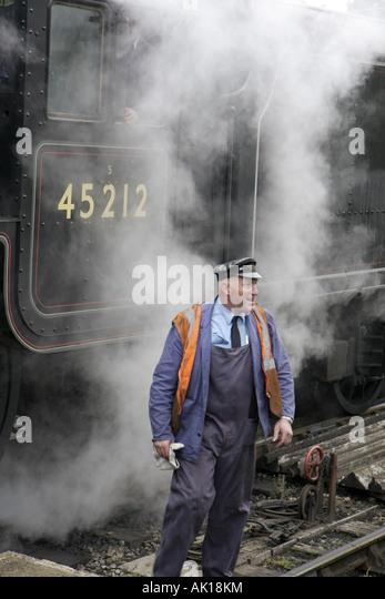 UK, England, Levisham, North Yorkshire Moors Railway, engineer, locomotive, steam, - Stock Image