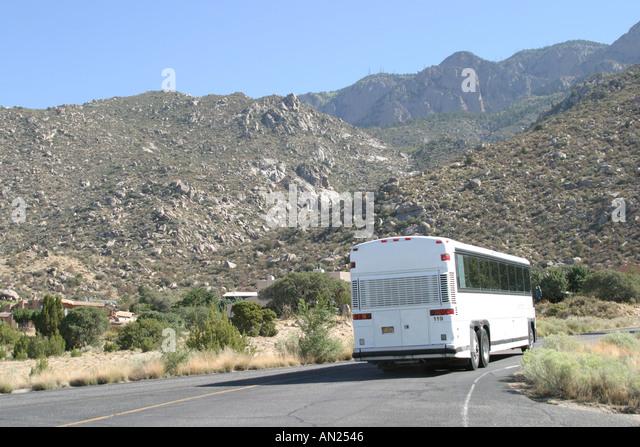 Albuquerque New Mexico tour bus entering Sandia Peak Aerial Tramway T - Stock Image